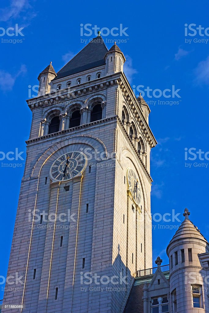 Close-up of the Old Post office Clock Tower stock photo