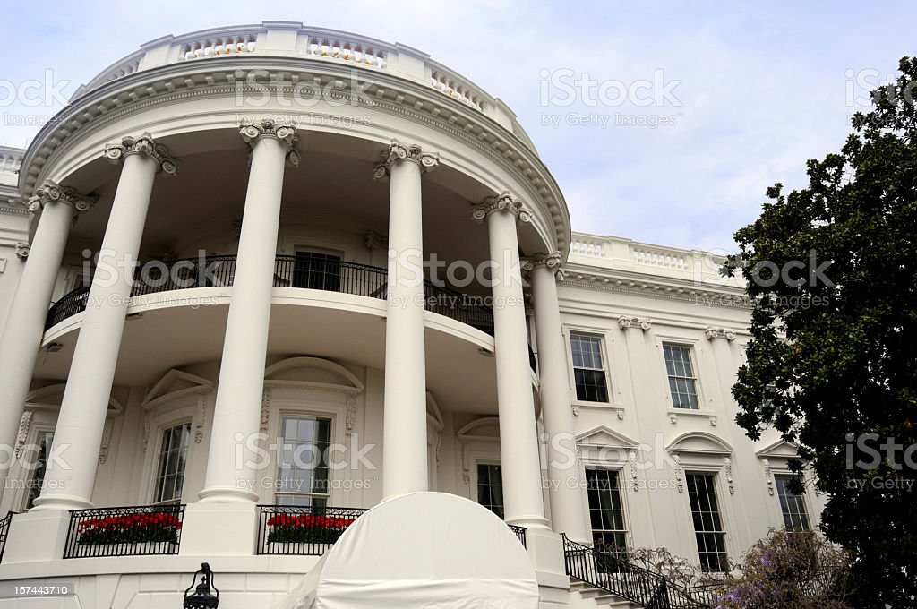 Close-up of the outside of the White House in Washington DC stock photo