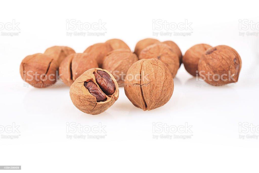 closeup of the pecan nuts stock photo