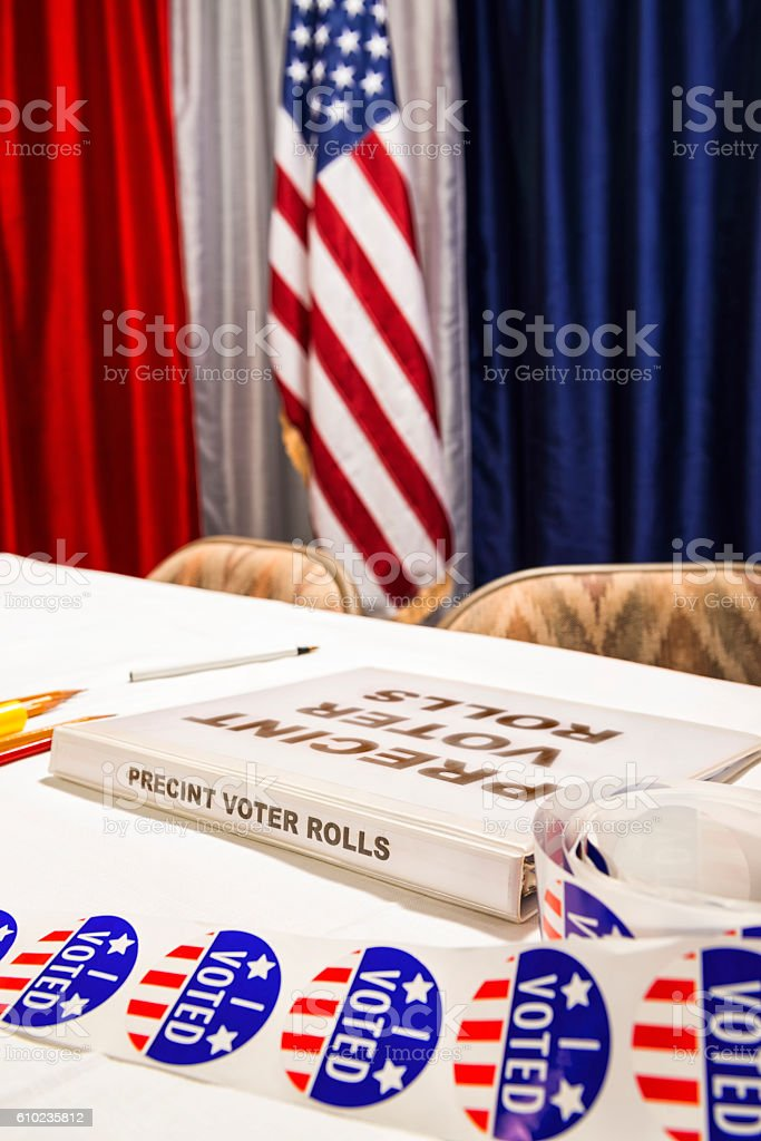 Close-up of the Polling Station registration desk US Election stock photo