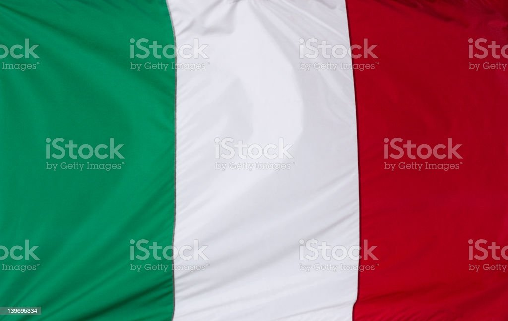 Close-up of the red white and green Italian flag stock photo