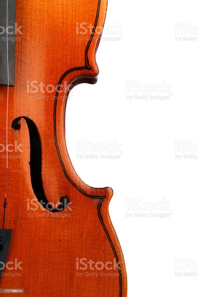 Close-up of the right half of a violin royalty-free stock photo