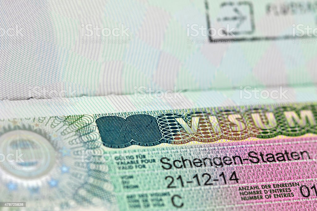 Closeup of the Schengen visa with shallow focus stock photo