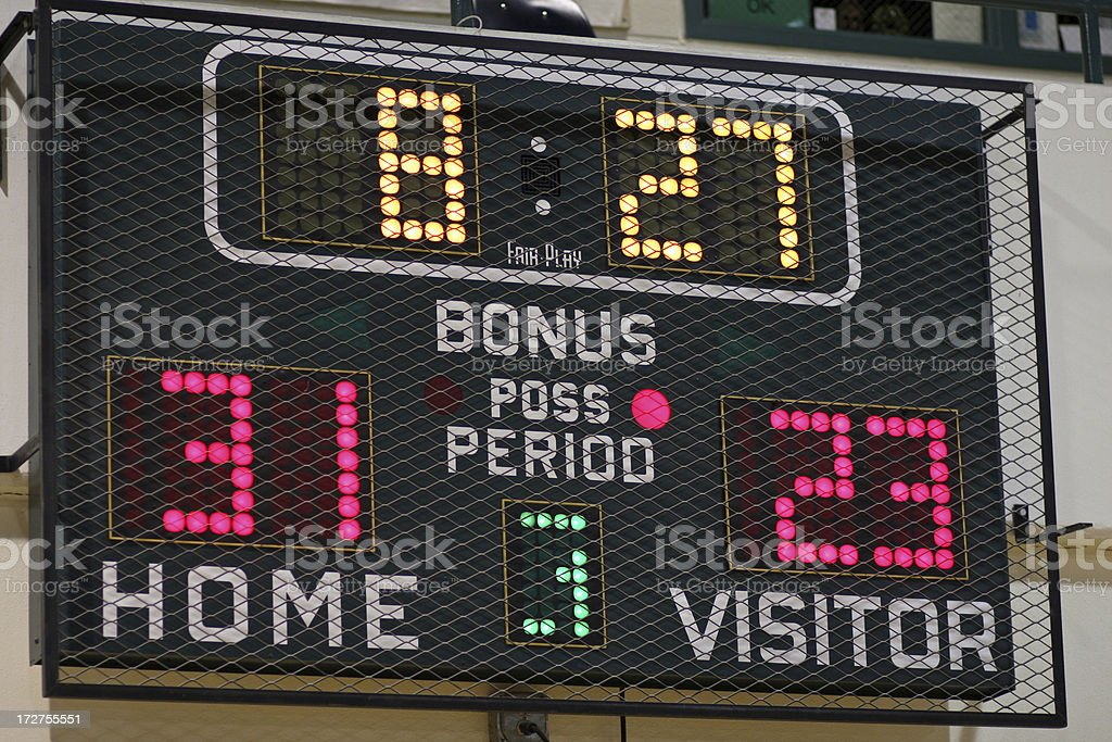 Close-up of the scoreboard recording the score of the game stock photo