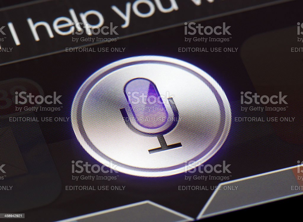 Close-up of the Siri icon on a new ipad royalty-free stock photo