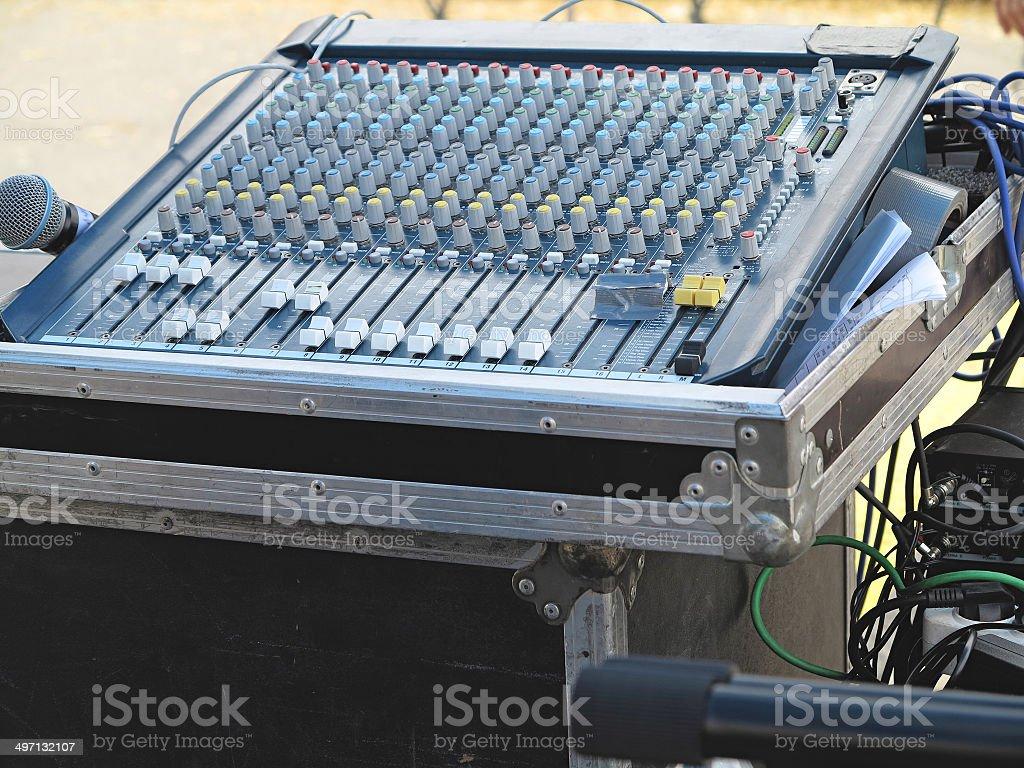 Plano aproximado da Consola de mistura de som controlo foto de stock royalty-free