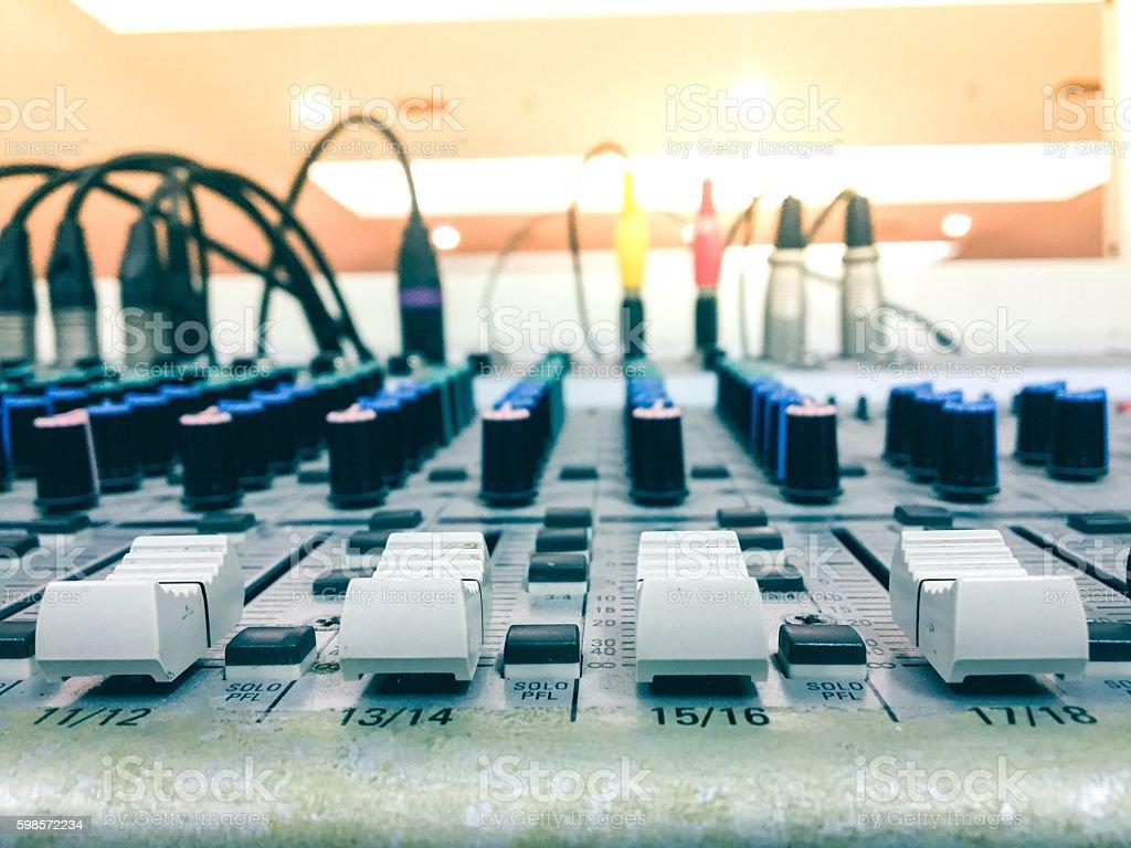 Closeup of the sound mixer control in studio stock photo