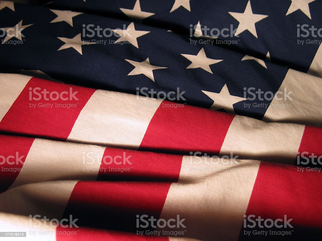 A closeup of the Stars and Stripes on an American flag royalty-free stock photo