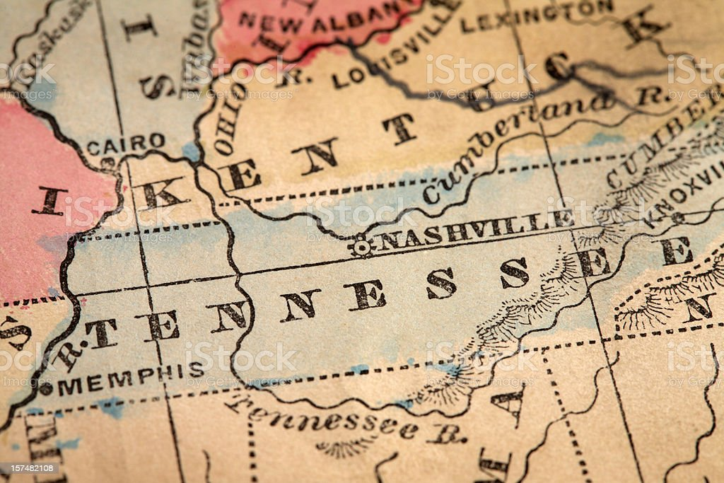 Close-up of the State of Tennessee on a map royalty-free stock photo