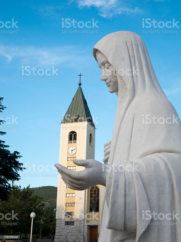 Close-up of the statue of Vierge Marie stock photo