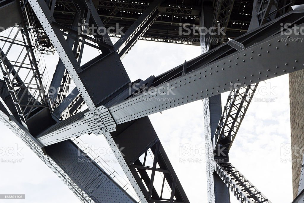 Closeup of the steel framework of the Harbor bridge stock photo