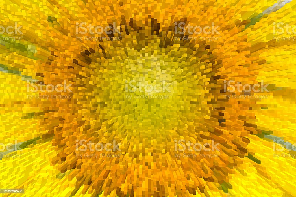 close-up of the sunflower with extrude effect stock photo