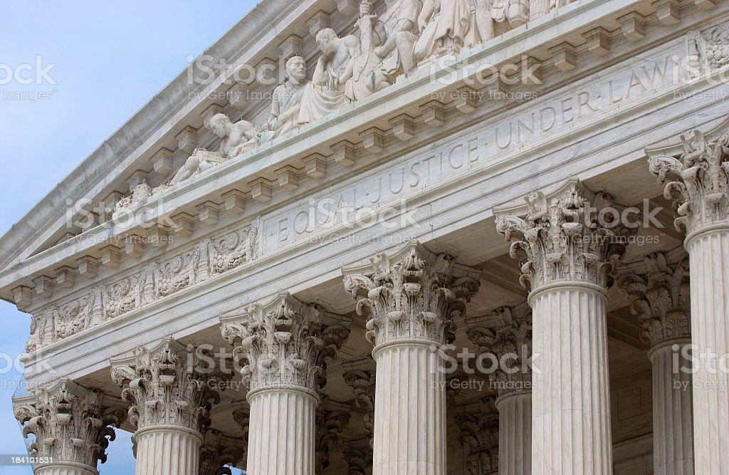 Close-up of the Supreme Court building stock photo