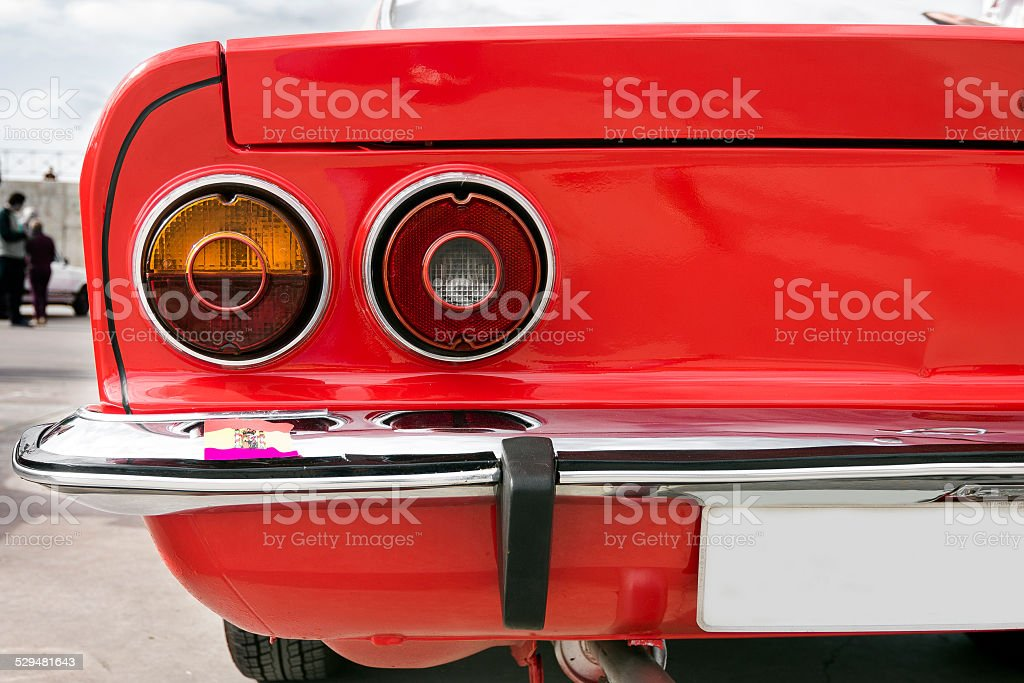 Closeup of the tail lights of car stock photo