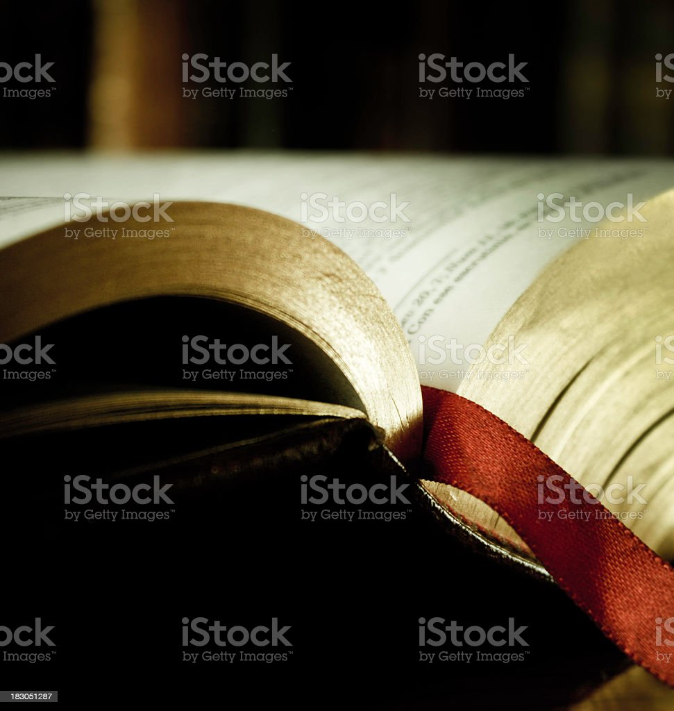 Close-up of the top edge of an open bible royalty-free stock photo