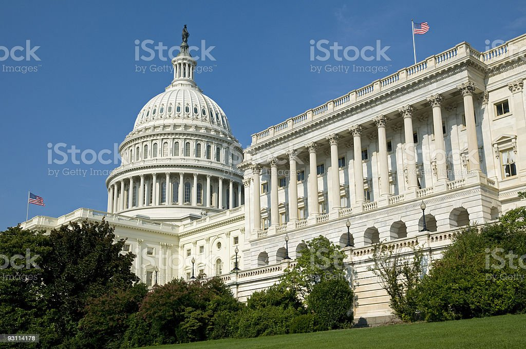 Close-up of the US Capitol Building stock photo