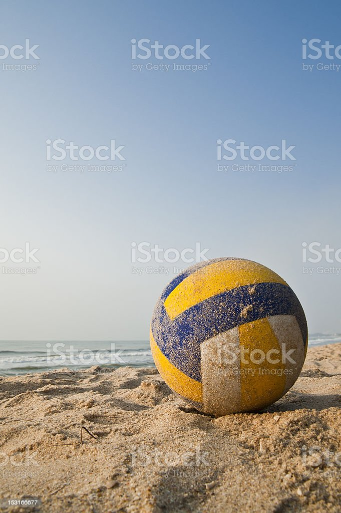 Close-up of the volleyball on the sandy beach stock photo