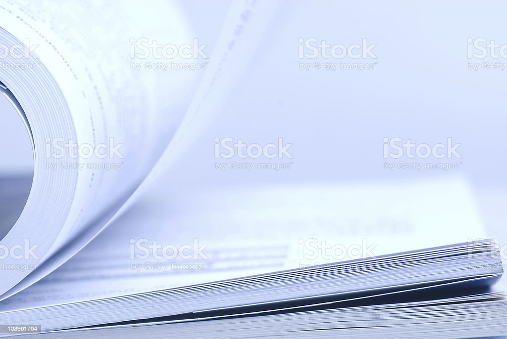 Close-up of the white pages of an open book stock photo