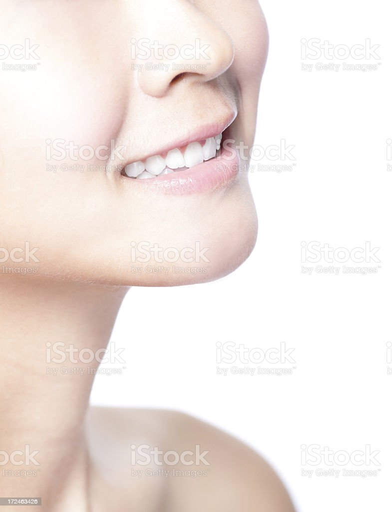closeup of the woman healthy white teeth royalty-free stock photo