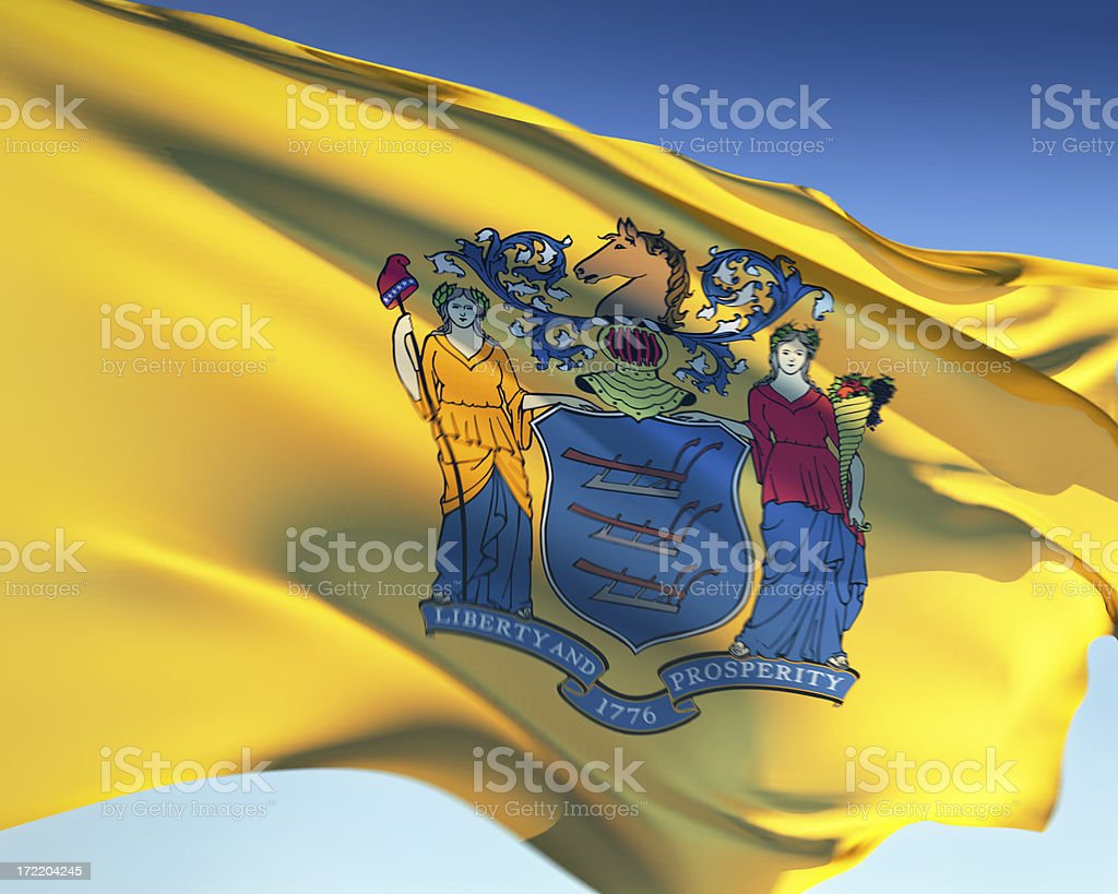 Close-up of the yellow flag of New Jersey stock photo