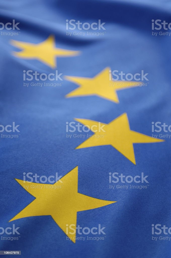 Close-up of the yellow starts on a European Union flag royalty-free stock photo
