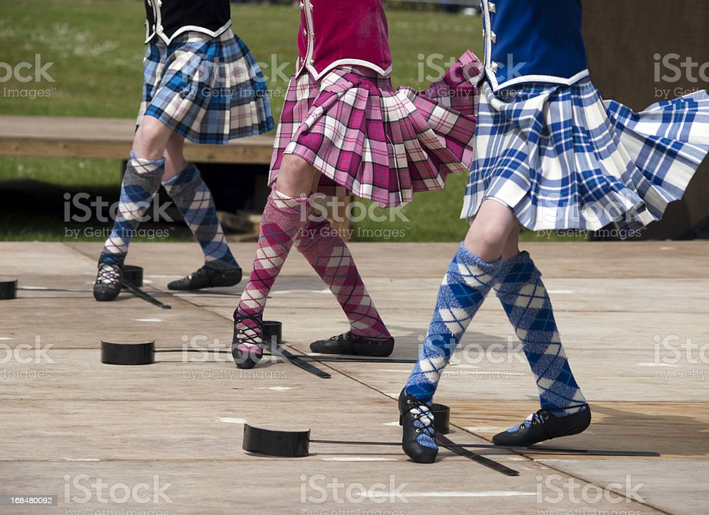 Closeup of three pairs of feet of men Scottish sword dancing stock photo