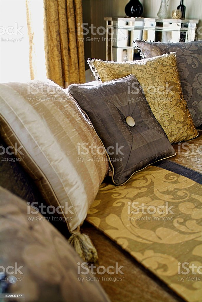 Closeup of three seater sofa in living room stock photo