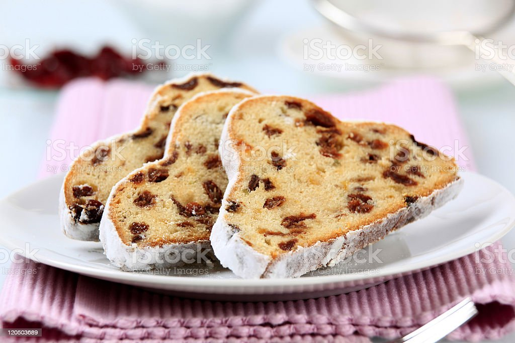 Close-up of three slices of stollen served on a white plate stock photo