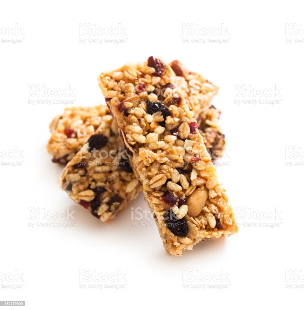 Close-up of three stacked granola protein bars stock photo