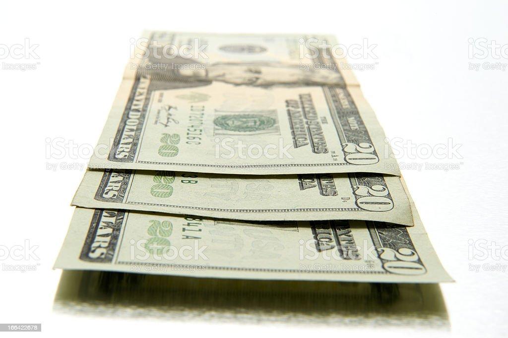 Closeup of three twenty dollar bills royalty-free stock photo