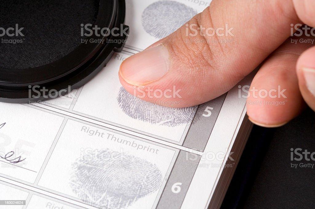 Close-up of thumbprint being taken royalty-free stock photo