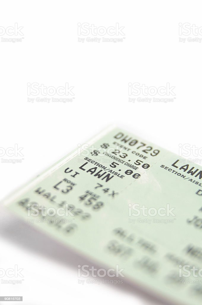 Close-up of ticket with seating and price details royalty-free stock photo