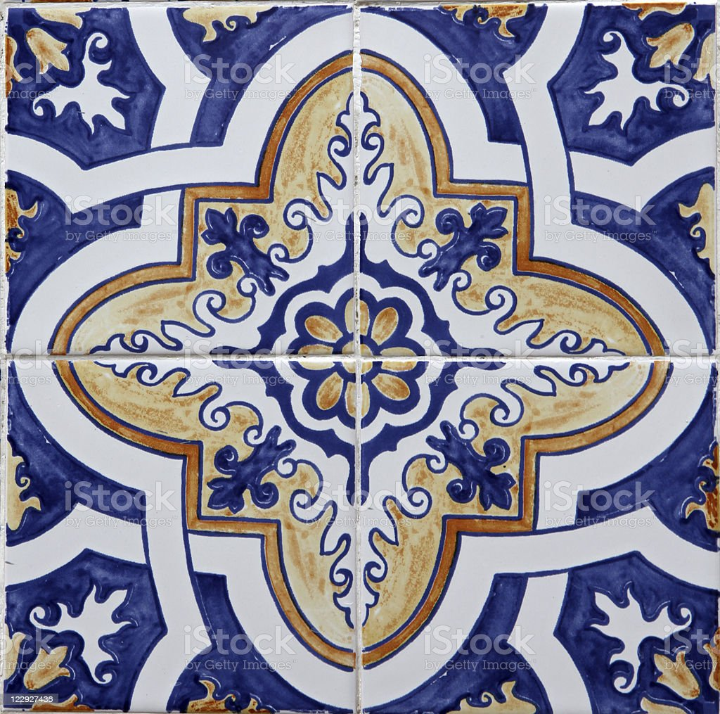 Close-up of tiles of Lisbon azulejos stock photo
