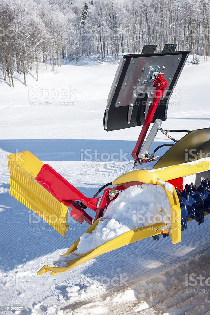 Close-up of Trackmaster in Slovenian Alps Ski Resort stock photo
