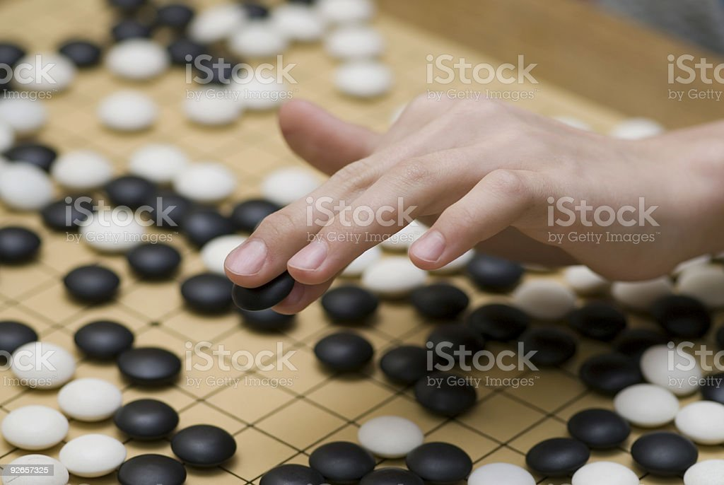 Close-up of traditional oriental logic game Go stock photo