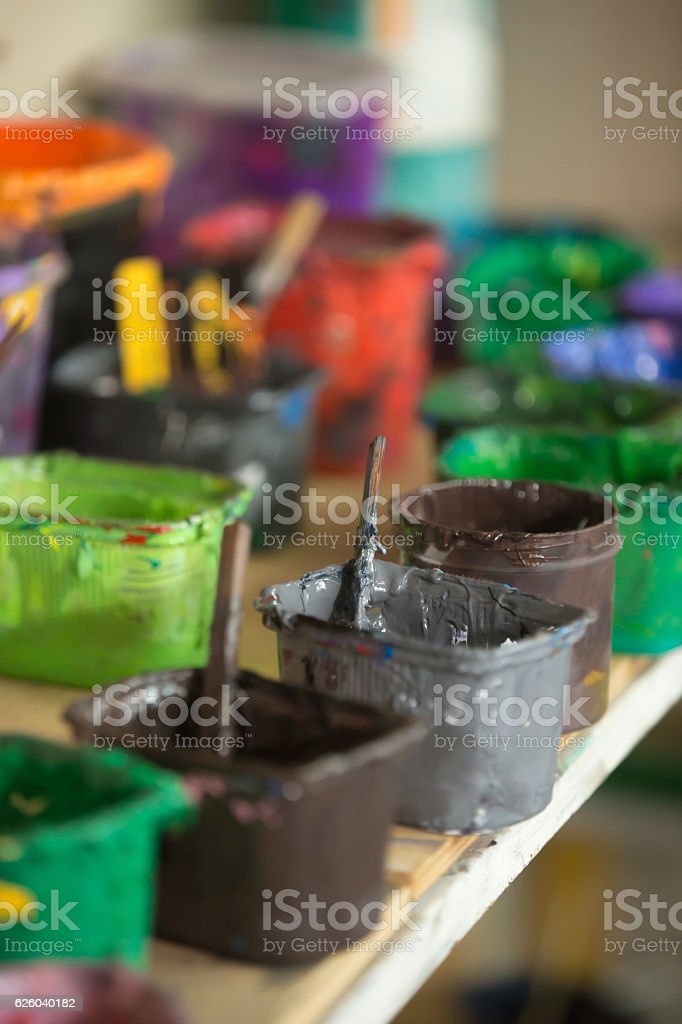 Close-up of traditional silk screen printing ink stock photo