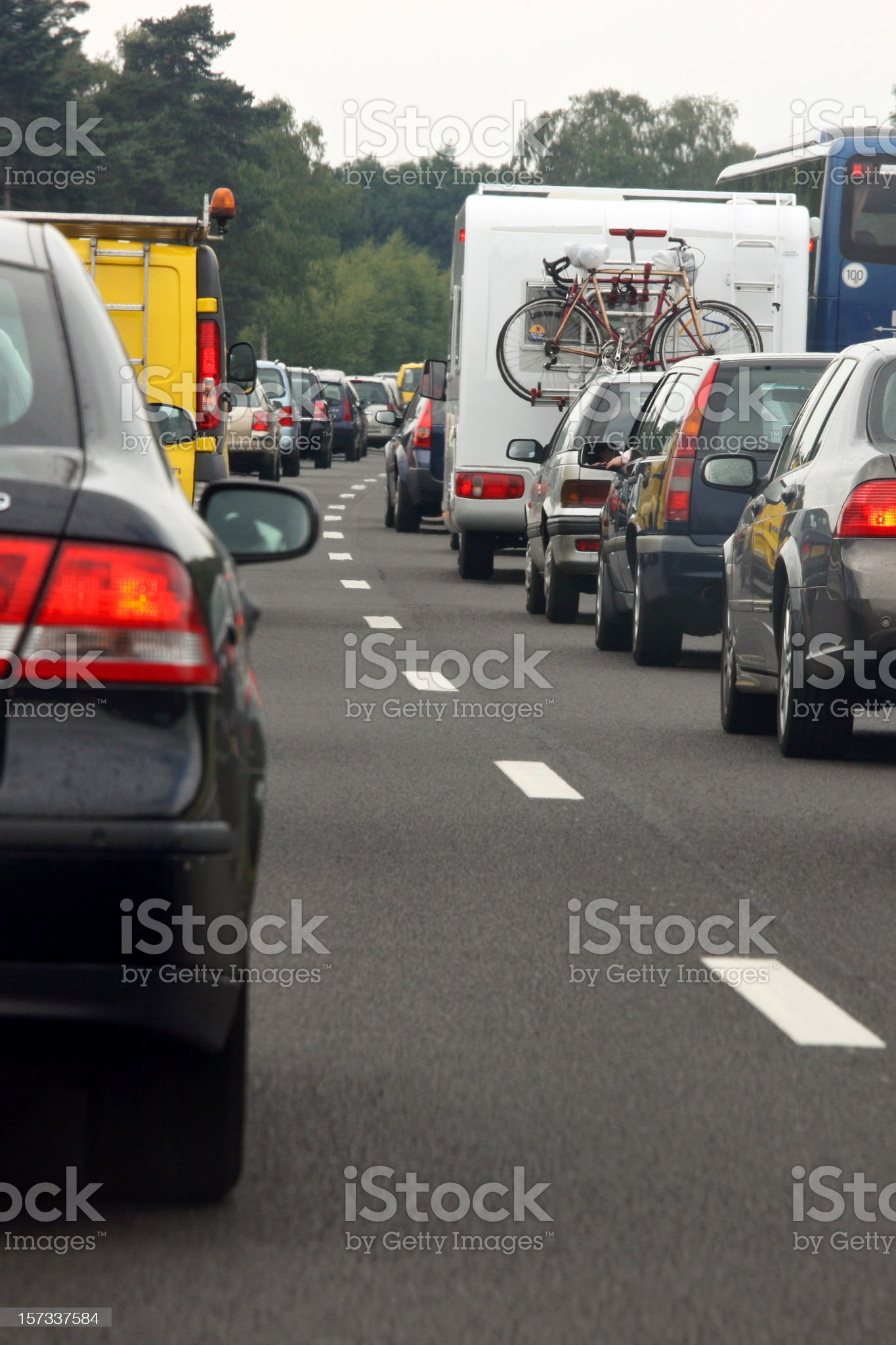 Close-up of traffic on a Dutch highway royalty-free stock photo
