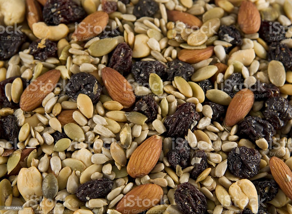 A close-up of trail mix scattered stock photo