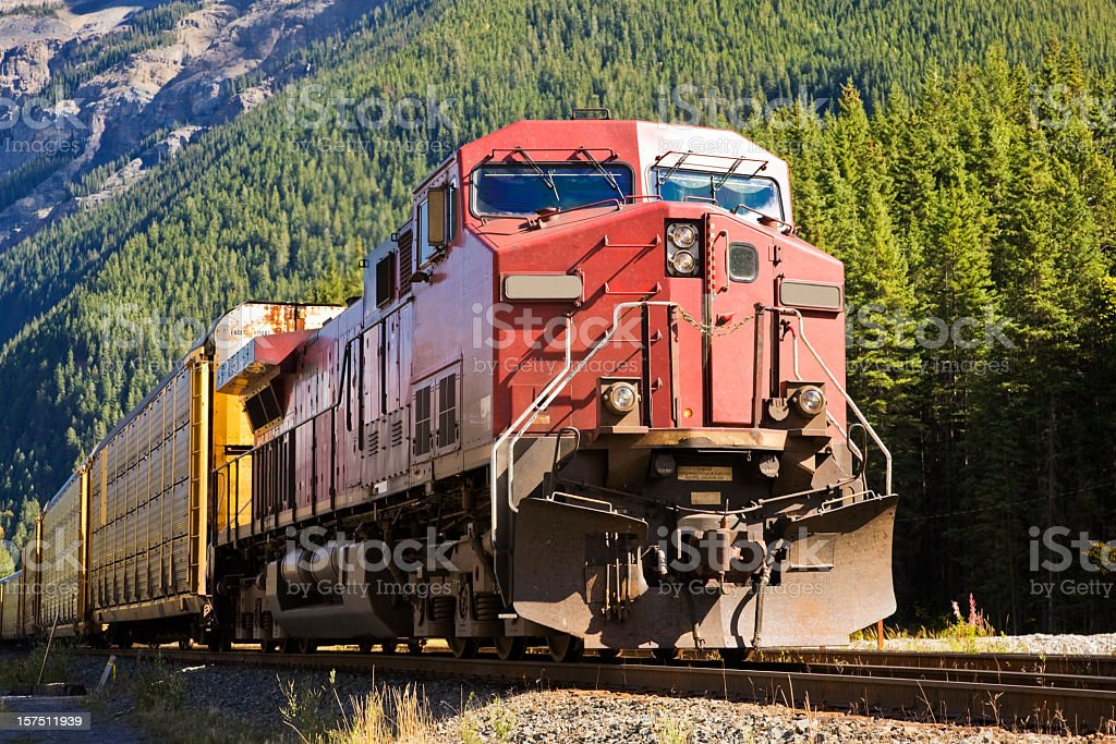 Close-up of train head of a freight train stock photo