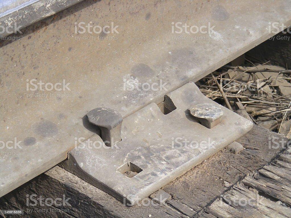 Closeup of train track royalty-free stock photo