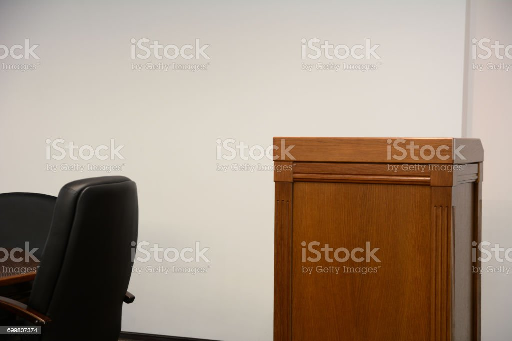 Close-up of tribune in conference room stock photo