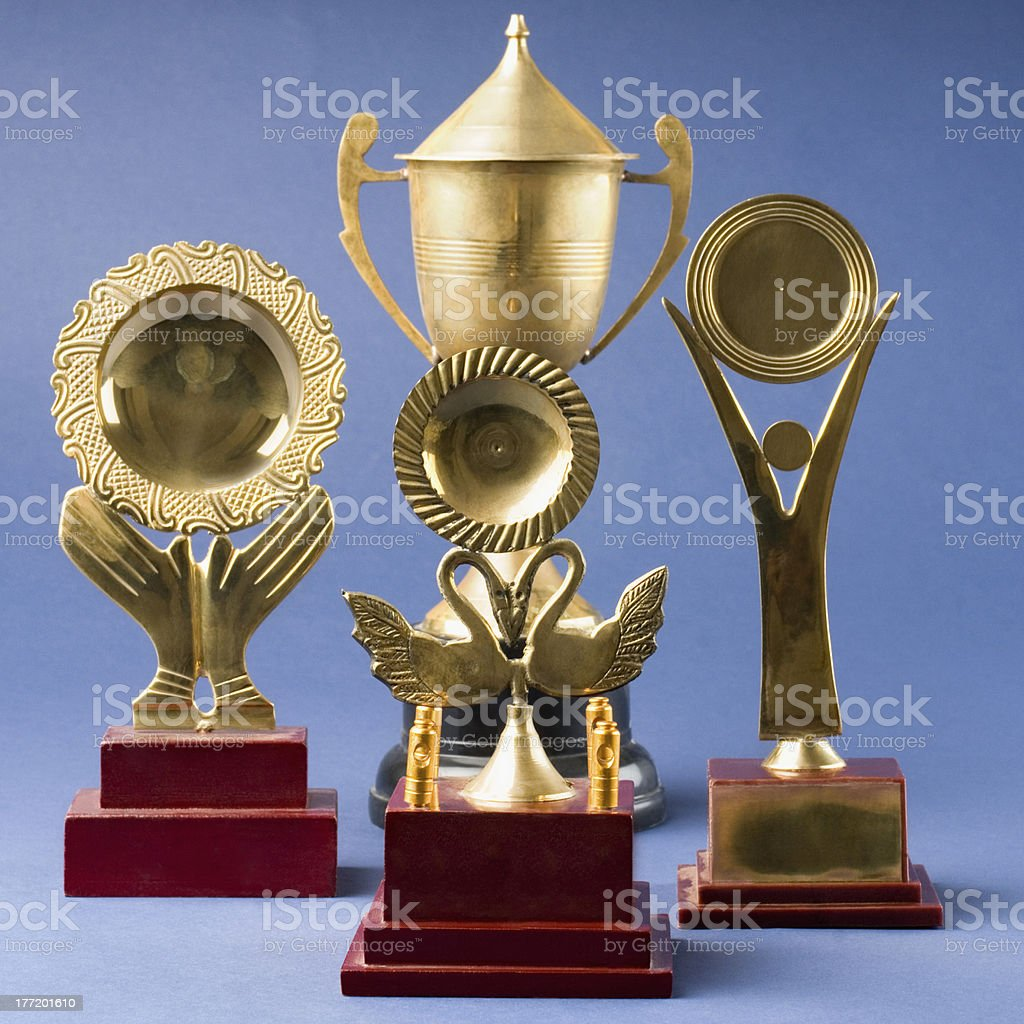 Close-up of trophies royalty-free stock photo