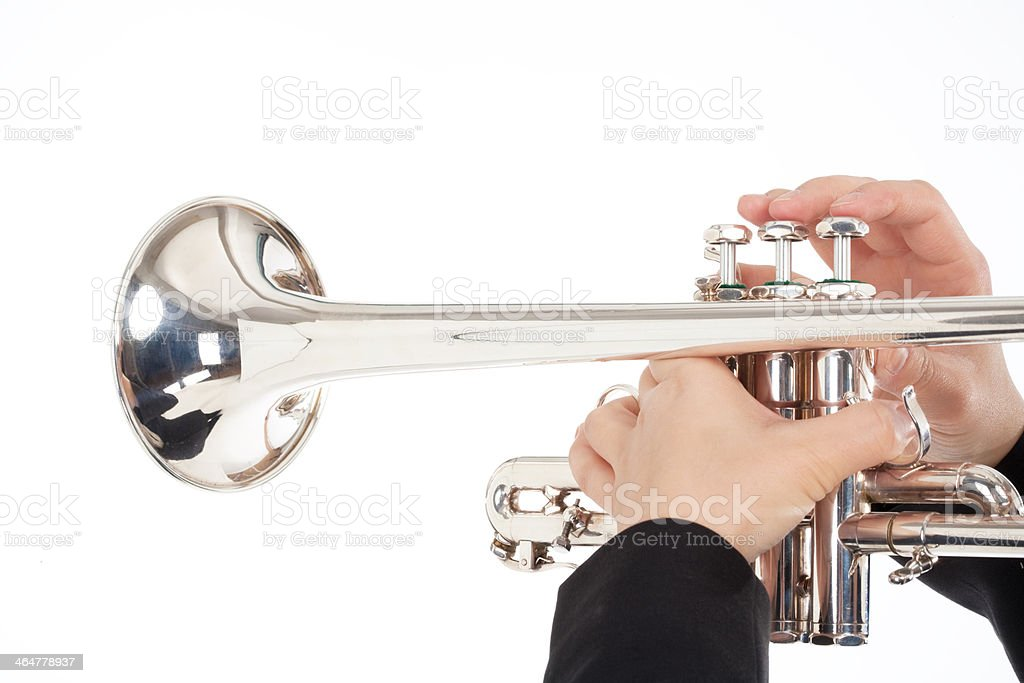 Closeup of Trumpet Player Playing royalty-free stock photo