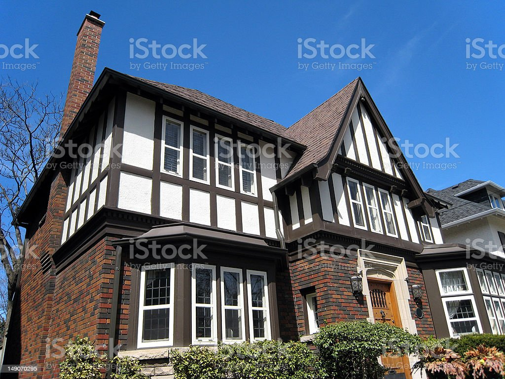 Close-up of tudor style house stock photo