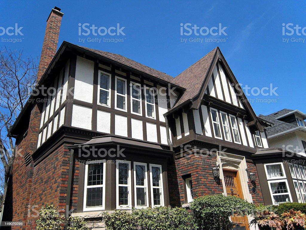 Close-up of tudor style house stock photo