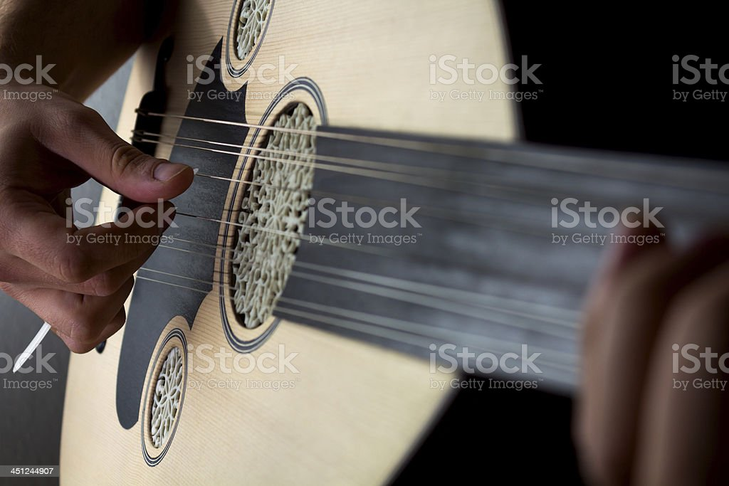 Close-up of Turkish musician playing an oud stock photo