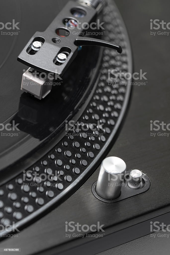 Closeup of turntable and disc stock photo