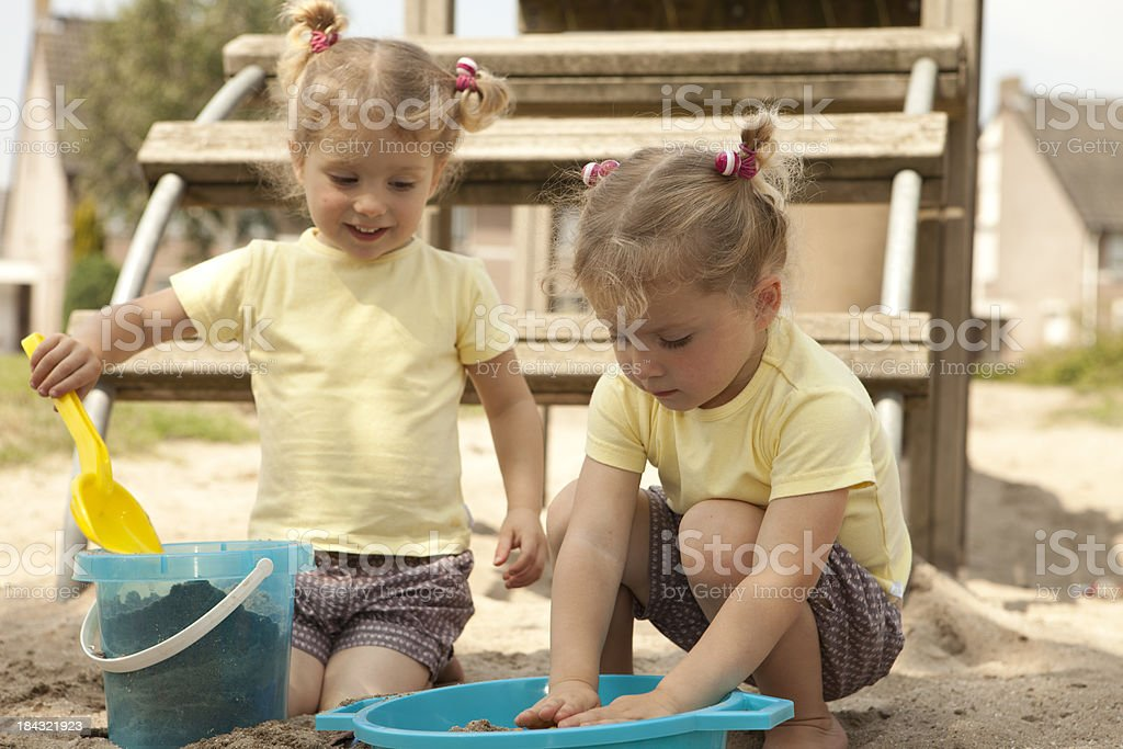 Close-up of twins, 3 years old. stock photo