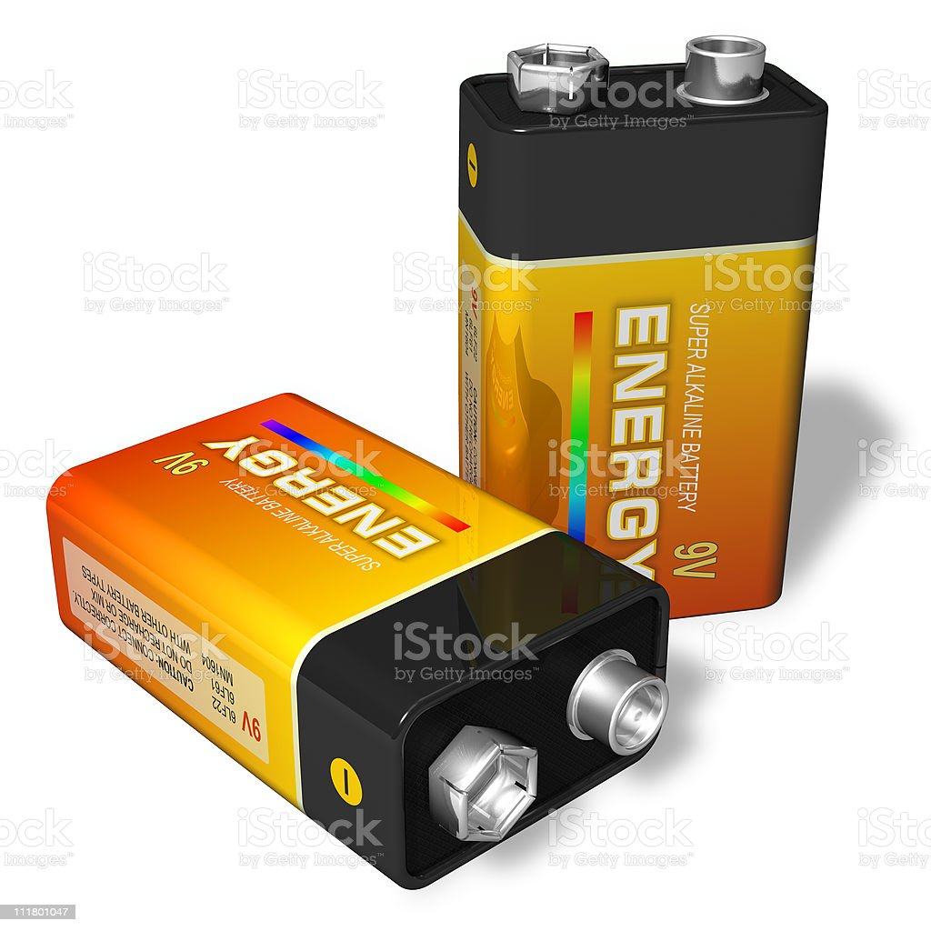 Close-up of two 9-volt batteries stock photo