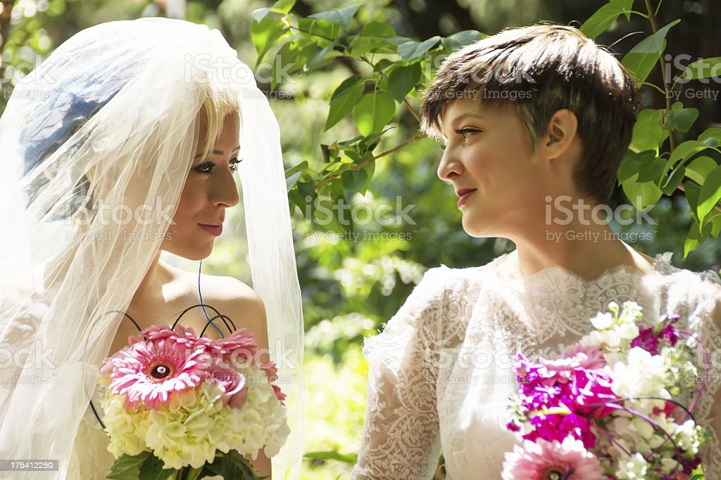 Closeup of two brides smiling in profile. royalty-free stock photo